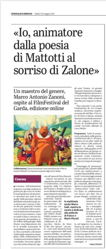 Giornale di Brescia –  intervista a Marco Antonio Zanoni